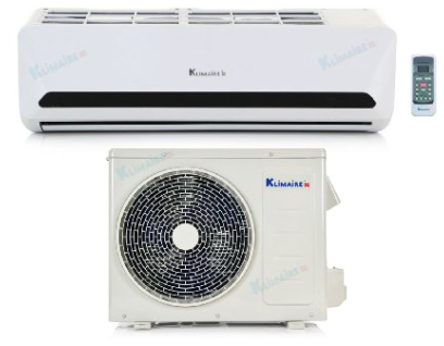 Inside and outside units of the Klimaire KSIN009-H115 mini split air conditioner with remote control