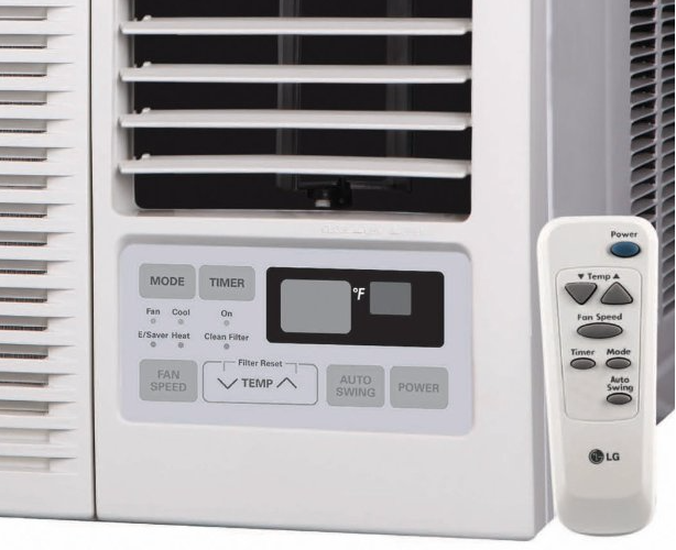 LG Electronics LW1214HR window-mounted air conditioner - display & remote control