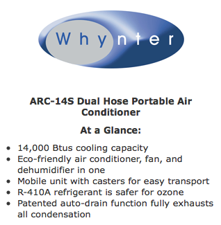 Whynter ARC 14S 14,000 BTU Dual Hose Portable Air Conditioner   Quick Specs  Overview