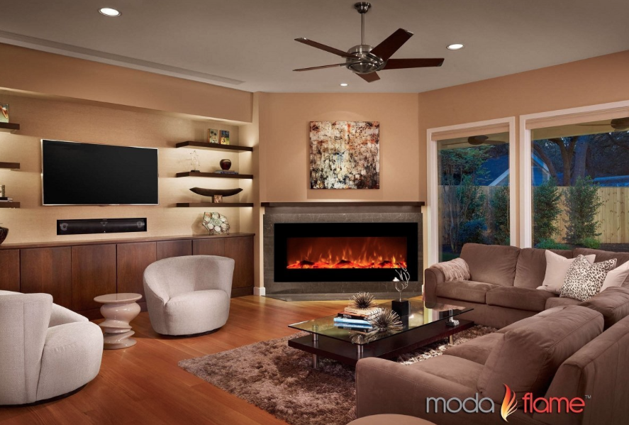 Moda Flame Houston 50-in Electric Wall Mounted Fireplace in living room