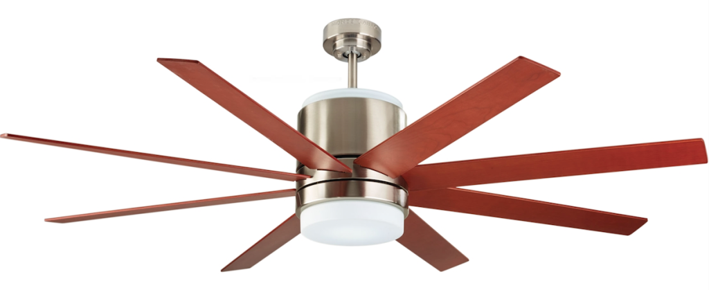Monte Carlo Araya ceiling fan - Brushed Steel Finish with Walnut Blade Finish