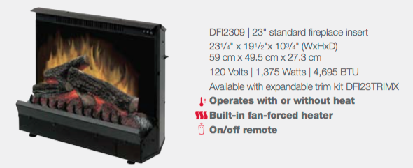 Dimplex DFI2309 Electric Fireplace Insert with specifications
