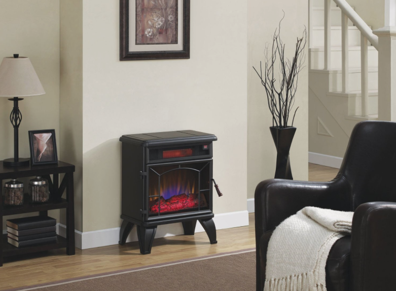 Duraflame DFI-550-0 Mason Freestanding Electric Infrared Quartz Fireplace Stove - living room